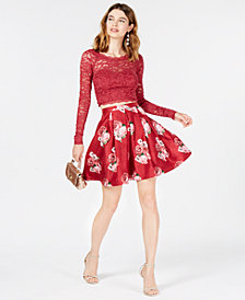 Sequin Hearts Juniors' 2-Pc. Lace Fit & Flare Dress