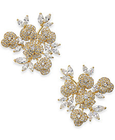 kate spade new york Gold-Tone Crystal Flower Cluster Stud Earrings