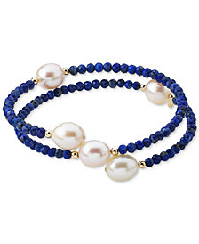 Cultured Freshwater Pearl (10mm) & Lapis Lazuli (3mm) Wrap Bracelet in 14k Gold (Also Black Spinel)
