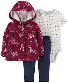 Carter's Baby Girls 3-Pc. Quilted Hoodie, Bodysuit & Pants Set