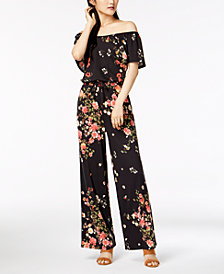 Derek Heart Juniors' Printed Off-The-Shoulder Jumpsuit
