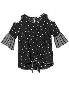 Monteau Big Girls Tie-Front Top