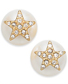 kate spade new york pearl Gold-Tone Pavé Star & Imitation Pearl Stud Earrings