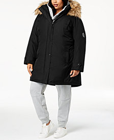Madden Girl Juniors' Plus Size Faux-Fur-Trim Parka