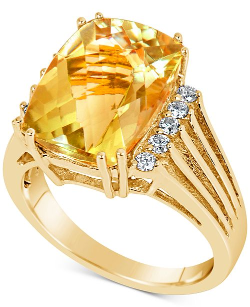 Macy's Citrine (7 ct. t.w.) & Diamond (1/5 ct. t.w.) Ring in 14k Gold