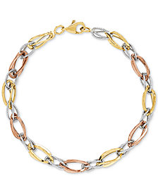 Tricolor Polished & Textured Open Link Bracelet in 10k Gold, White Gold & Rose Gold