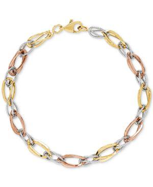 Tricolor Polished & Textured Open Link Bracelet in 10k Gold, White Gold & Rose Gold -  Macy's