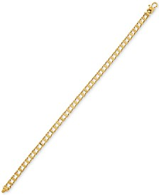 Polished Railroad Link Chain Bracelet in 14k Gold