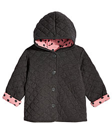 First Impressions Baby Girls Quilted Dot-Print Reversible Jacket, Created for Macys
