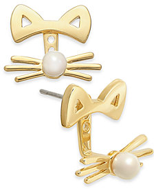 kate spade new york Gold-Tone & Imitation Pearl Cat Ear Jacket Earrings
