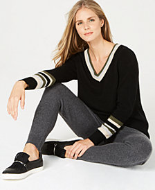 Charter Club Striped Cashmere Sweater, Created for Macy's