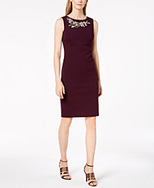 Calvin Klein Rhinestone-Embellished Sheath Dress