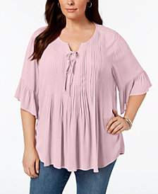 Style & Co Plus Size Pintucked Ruffled Peasant Top, Created for Macy's