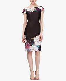 SL Fashions Floral Off-The-Shoulder Sheath Dress