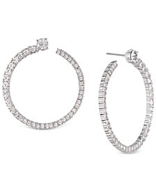 Givenchy Silver-Tone Pavé Circle Drop Earrings