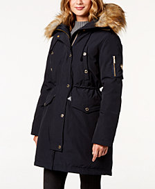 MICHAEL Michael Kors Petite Faux Fur Hooded Parka Coat