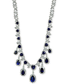 "Giani Bernini Cubic Zirconia 18"" Statement Necklace in Sterling Silver, Created for Macy's"