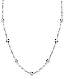 "Giani Bernini Beaded Station Chain Necklace in 18k Gold-Plated Sterling Silver, 18"" + 2"" extender, Created for Macy's"