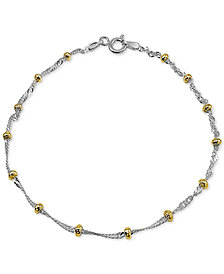 Giani Bernini Two-Tone Beaded Ankle Bracelet in Sterling Silver & 18k Gold-Plate, Created for Macy's
