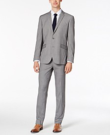 Men's Slim-Fit Ready Flex Stretch Light Gray Box Plaid Suit