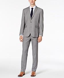 Men's Slim-Fit Ready Flex Stretch Light Gray Box Plaid Suit