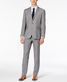 Kenneth Cole Reaction Men's Slim-Fit Techni-Cole Stretch Light Gray Box Plaid Suit