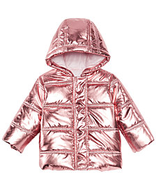 First Impressions Baby Girls Metallic Puffer Jacket, Created for Macy's