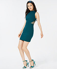 City Studios Juniors' Mock-Neck Bodycon Dress