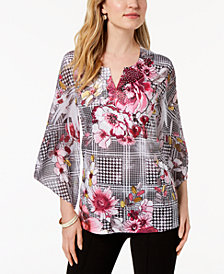 JM Collection Petite Embellished Angel-Sleeve Top, Created for Macy's
