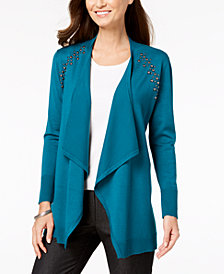 JM Collection Petite Embellished Open-Front Cardigan, Created for Macy's