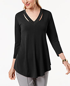 JM Collection Embellished Cutout Top, Created for Macy's