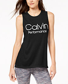 Calvin Klein Performance Logo Wide-Racerback Tank Top