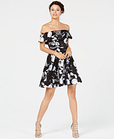 Sequin Hearts Juniors' Printed Off-The-Shoulder Flounce Dress