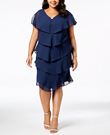 SL Fashions Plus Size Tiered Shift Dress