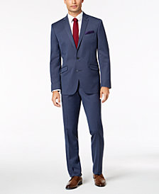 Kenneth Cole Reaction Men's Big & Tall Slim-Fit Techni-Cole Stretch Denim Blue Solid Suit