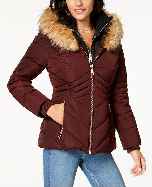 1d4db1e56d GUESS Faux-Fur-Trim Hooded Puffer Coat   Reviews - Coats - Women ...