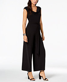 Connected Cowl-Neck Wide-Leg Jumpsuit