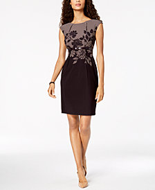 Connected Petite Belted Tweed-Floral Sheath Dress