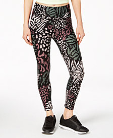 Calvin Klein Performance Animal-Print High-Waist Ankle Leggings