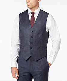 Tommy Hilfiger Men's Modern-Fit TH Flex Stretch Light Blue Plaid Suit Vest
