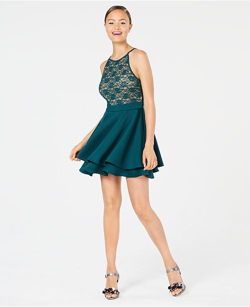 a57e8a83d Emerald Sundae Juniors' Lace Fit & Flare Dress & Reviews - Dresses ...