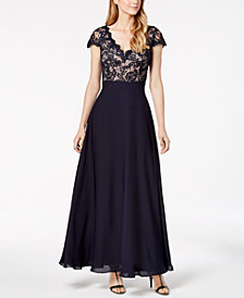 Calvin Klein V-Neck Lace & Chiffon Gown