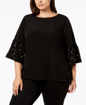 980e2730541d9 CALVIN KLEIN Plus Size Embellished Bell-Sleeve Top