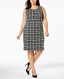 Calvin Klein Plus Size Jacquard-Print Sheath Dress