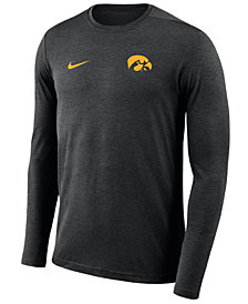 Nike Men's Iowa Hawkeyes Long Sleeve Dri-Fit Coaches T-Shirt