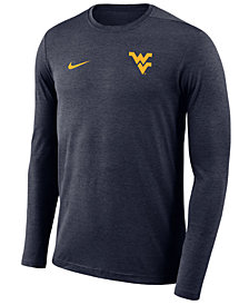 Nike Men's West Virginia Mountaineers Long Sleeve Dri-Fit Coaches T-Shirt