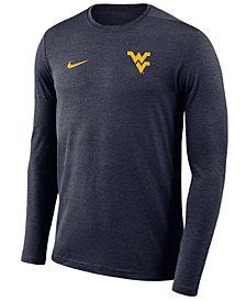 Nike Men's West Virginia Mountaineers Long Sleeve Dri-Fit Coaches T-Shirt