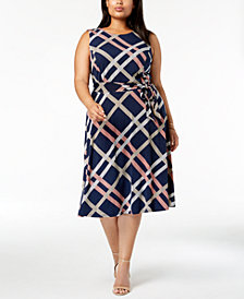 Charter Club Plus Size Printed Fit & Flare Midi Dress, Created for Macy's