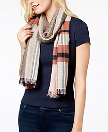 Echo Opposing Plaids Cotton Scarf