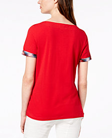 Tommy Hilfiger Plaid-Trim T-Shirt, Created for Macy's
